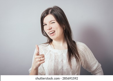 girl points at you