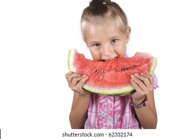 girl with a portion of the watermelon in his hands isolated on white background