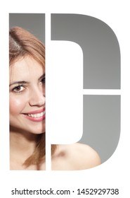 "girl portrait behind the letter ""D"""