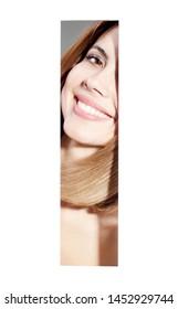 "girl portrait behind the letter ""I"""
