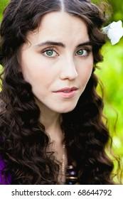 Girl portrait with big green eyes