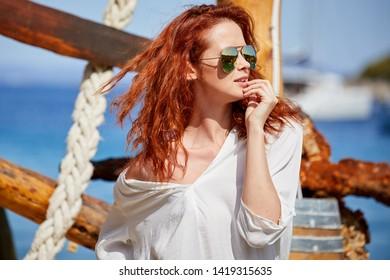 Girl posing near the sea.  Croatia