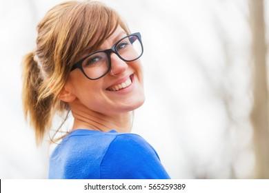 Girl posing outdoors.