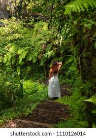 Girl posing in Salazie, Reunion Island