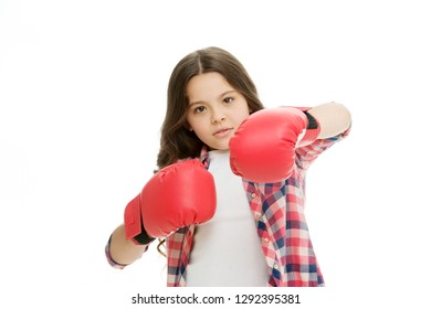 Girl power concept. Kid boxing gloves isolated white. Child boxer defend herself. Sport activity. Boxing practice. Feminist movement. Self defend strategy. Attack and defend skills. Defend yourself.
