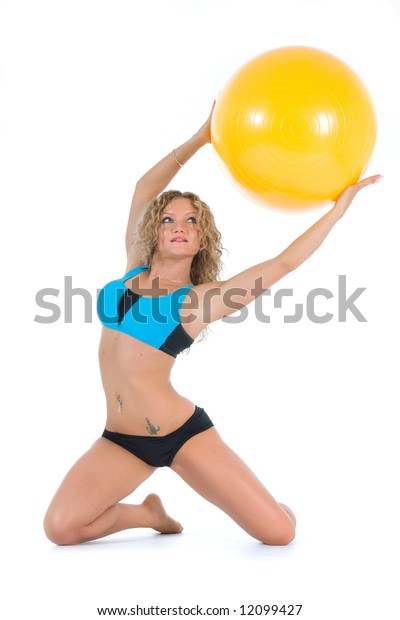 Girl practicing fitness  on  white  background