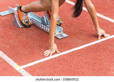 The girl prepare to run for the race
