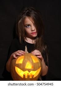 The girl is preparing for Halloween Challenge