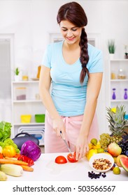 Girl preparing a salad