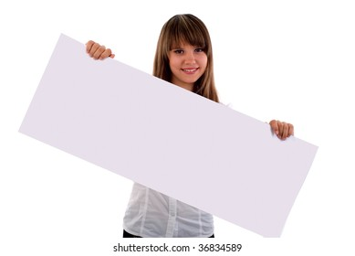 Girl With Presentation Board Banner. Isolated On White Background.
