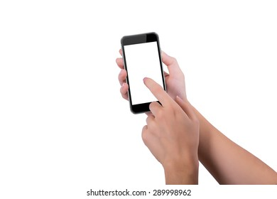 Girl presses index finger on the the phone screen