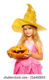 Girl in princess dress hold Halloween pumpkin