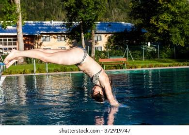 Girl in a public baths in Berchtesgaden