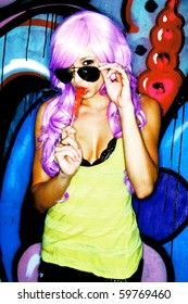 Girl in a Purple Wig Eating Rock Candy