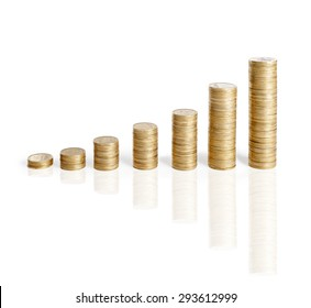 Girl put coins to stack of coins ,Business idea