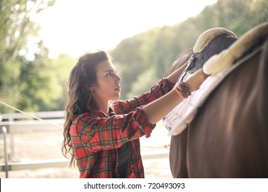 Girl putting a saddle on a horse