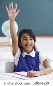girl raises hand in class