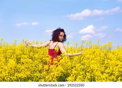 Girl in a rape field
