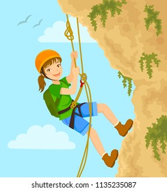 Girl rappels down the mountain with ropes