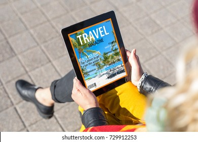 Girl reading e-magazine on tablet. All content is made up.