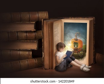 Girl reading fairy story book