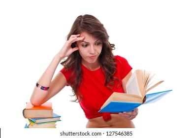 Girl reading interesting book over white background