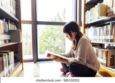 The girl reading in the library