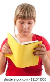 Girl reading school book