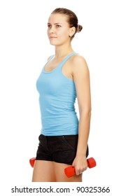 Girl with red barbells on white background