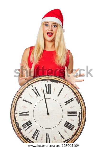 girl in a red dress and a big old clock in a Christmas costume did not have time to buy gifts