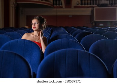 girl, red, dress, blue, theater, cinema, armchair