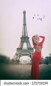 Girl And Eiffel Tower Images Stock Photos Vectors Shutterstock