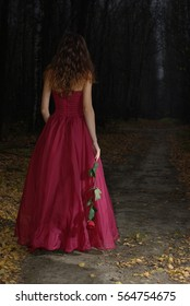 Girl in a red dress with rose in her hand in the dark forest