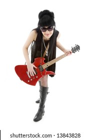 girl with red electric guitar over white