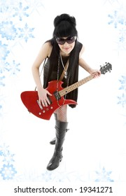 girl with red electric guitar and snowflakes