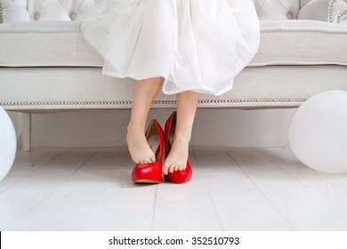 Girl at red mother shoes