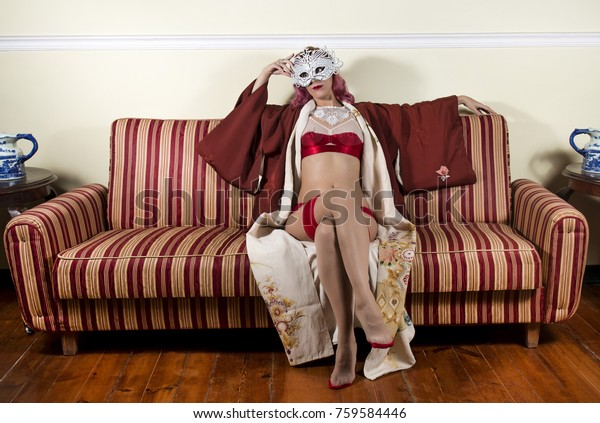 Girl Red Vintage Lingerie Striped Sofa Stock Photo (Edit Now ...