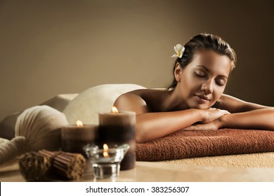 The girl relaxes in the spa salon