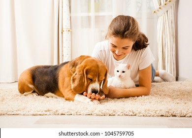 the girl is relaxing with her pets