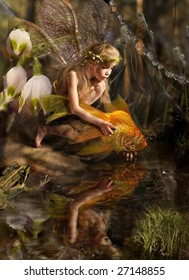 The girl releases a gold fish
