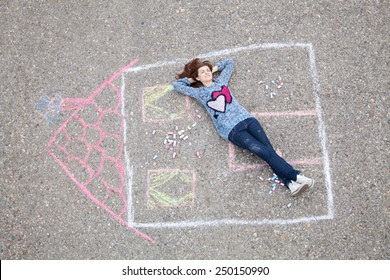 Girl resting in a drawn house