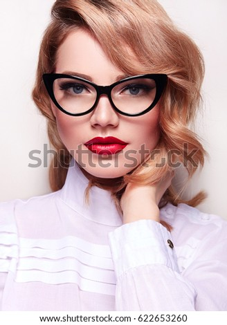 Girl Retro Glasses Diopters Red Lipstick Stock Photo Edit Now