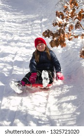 Girl rides on a bob down the snowy hill.The girl enjoys the snow. She runs down the hill on a blue bobsled.