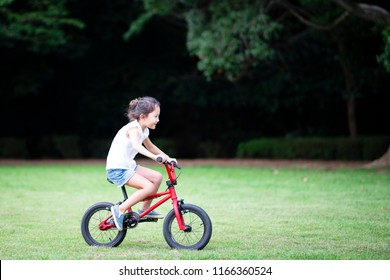 Girl riding a bike on the lawn