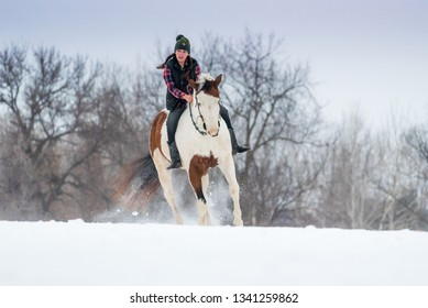 girl riding horse bareback. Winter scene with snow and trees