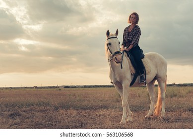 Girl Riding Horse During Sunset on Mallorca