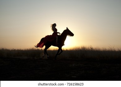 Girl riding a horse in field at sunset. Young woman is confidently in the saddle, evening on a walk