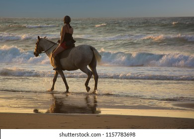 Girl riding horse on the beach at sunset. Horsewoman on the sea