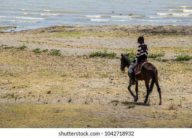 Girl riding horse on the riverbank