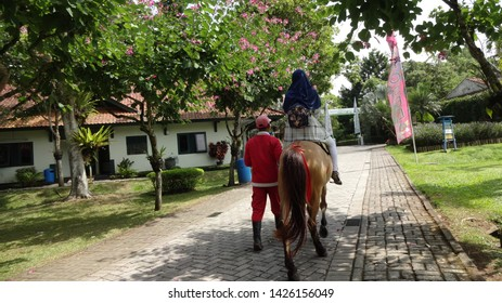 a girl riding horse with the horse trainer at Nusantara flower garden in cianjur, west java, indonesia. photo taken in June 2019